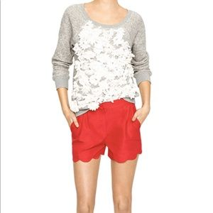 J.Crew Red Scallop Shorts